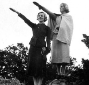Diana & Unity Mitford give the Nazi salute